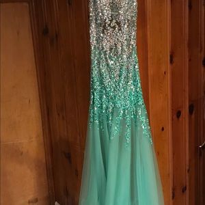 Elegant evening gown bling crystals